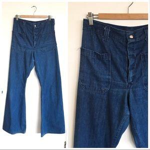 VINTAGE 70s Wide BELL BOTTOMS Jeans SeaFarer Sz 30